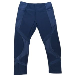90 Degrees by Reflex Navy Cropped Leggings Small